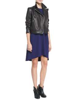 Rag & Bone Victorian Lambskin Biker Jacket & Harper Jersey Colorblock Dress