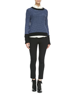 Rag & Bone Sabina Rib-Trim Patterned Sweater, Jo Anne Striped Silk Blouse & Simone Back-Zip Leggings