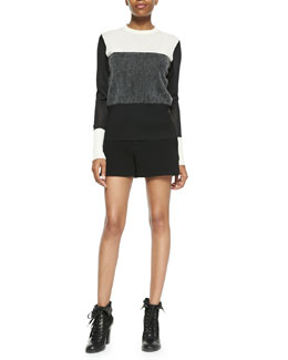 Rag & Bone Marissa Colorblock Knit Sweater & Kelly Leather-Waist Shorts