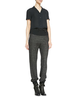 Rag & Bone Cropped Button-Front Silk Blouse & Owen Solid-Top Melange Sweatpants