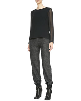 Rag & Bone Harper Sheer-Sleeve Blouse & Owen Solid-Top Melange Sweatpants