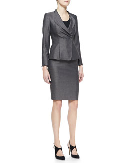 Armani Collezioni Birdseye Tweed Drape-Collar Jacket & Pencil Skirt