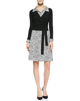 Diane von Furstenberg Ballerina Wrap-Style Cardigan & Collared Rose Heart-Print Shirtdress