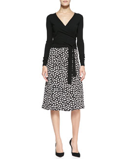 Diane von Furstenberg Ballerina Wrap-Style Cardigan & Rosalita Flared Ballet Rose-Print Skirt