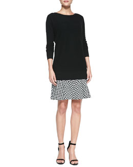 Diane von Furstenberg Long Cashmere Pullover Sweater & Weave-Print Flirty Flared Skirt