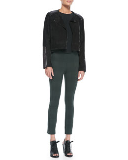 Rag & Bone Elettra Leather/Suede Cropped Jacket, Simone Pintucked Contrast-Side Blouse & Simone Houndstooth-Plaid Slim Pants