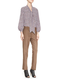 Marc Jacobs Long-Sleeve Printed Tie-Front Blouse & Slim Ankle Pants with Topstitch Detail