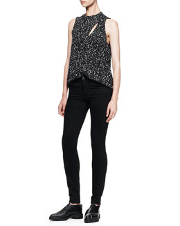 Proenza Schouler Sleeveless Printed Overlap Blouse and Ultra-Skinny Ankle Jeans