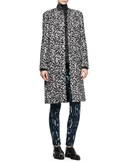 Proenza Schouler Collarless Jacquard Coat, Splatter-Print Top & Printed Flocked Pants