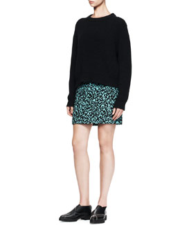 Proenza Schouler Wool/Cashmere Crew Sweater and Printed Flocked Mini Skirt