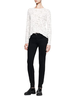 Proenza Schouler Long-Sleeve Printed Tissue Tee and Ultra-Skinny Ankle Jeans
