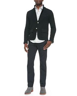 Band of Outsiders Golden-Button Sweater Jacket, Horizontal-Stripe Button-Down Shirt & Cotton Chino Pants