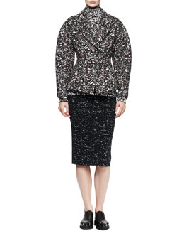 Proenza Schouler Sculptural Jacquard Topper, Printed Turtleneck & Splatter-Print Pencil Skirt