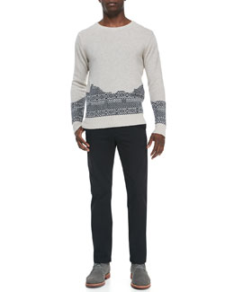 Band of Outsiders Broken-Fair Isle Crewneck Sweater & Cotton Chino Pants