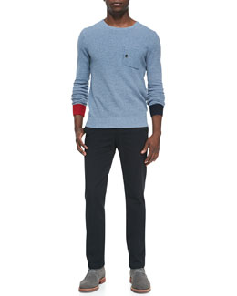 Band of Outsiders Birdseye-Knit Crewneck Sweater & Cotton Chino Pants