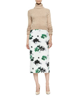 A.L.C. Tevin Cropped Turtleneck Sweater & Bell Long Floral-Print Pencil Skirt