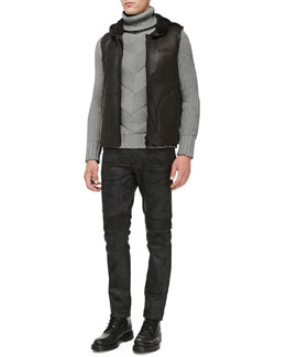 Belstaff Sedgwick Shearling Vest, Maxford Chunky Chevron-Knit Sweater & Eastham Resin-Coated Skinny Jeans