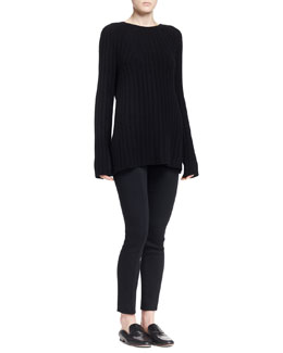 THE ROW Ede Ribbed Knit Sweater and Crossore Stretch Skinny Pants