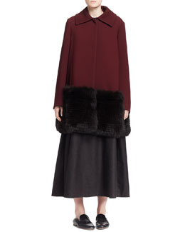 THE ROW Hastin Fur-Bottom Jacket and Sleeveless A-Line Midi Dress