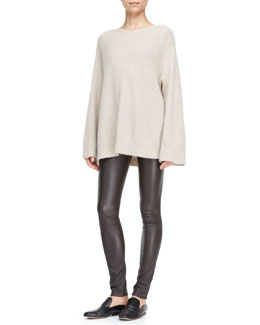 THE ROW Kerr Cashmere/Silk Top and Pull-On Leather Moto Leggings