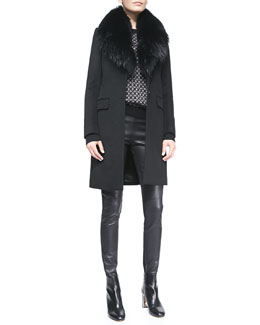 Joseph Coat with Fur Collar, Cravat Jacquard Knit Sweater & New Diamond Combo Leggings