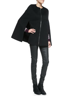 Joseph Capon Double-Faced Cape, Striped V-Neck Sweater & Coated Denim Jean Leggings