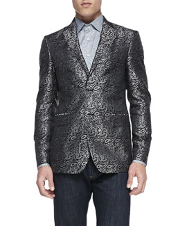 Etro Paisley Jacquard Evening Jacket & Animal-Print Jacquard Shirt