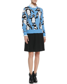 Elle Sasson Lina Penguin Intarsia Sweater, Abri Cotton Ruffled-Cuff Top & Anita Pleated Crepe Flare Skirt