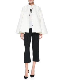 Elle Sasson Cristina Snap-Front Felt Cape, Dorota Embellished Sleeveless Blouse & Gina Pleated-Front Cropped Pants