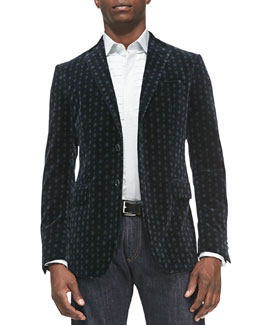 Etro Medallion-Print Velvet Jacket & Square-Jacquard Tuxedo Shirt