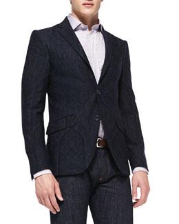 Etro Paisley-Print Jersey Blazer & Stripe Woven Shirt with Tonal-Paisley