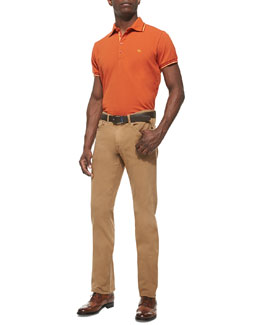 Etro Tipped Short-Sleeve Polo & 5-Pocket Twill Pants