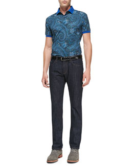 Etro Place Paisley-Print Polo & Dark-Wash Five-Pocket Jeans