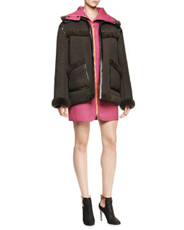 Alexander Wang Bonded Mesh Parka with Shearling and Sleeveless Quilted Zip Dress