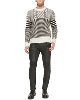 Belstaff Burstead Stripe Crewneck Sweater & Eastham Resin-Coated Skinny Jeans