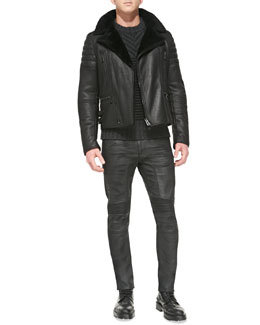 Belstaff Fraser Shearling Biker Jacket, Burstead Stripe Crewneck Sweater & Eastham Resin-Coated Skinny Jeans