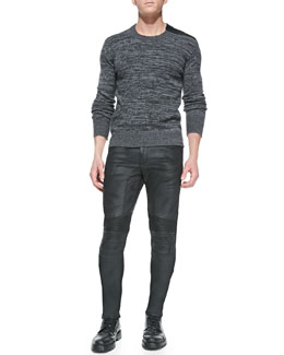 Belstaff Kilberry Space-Dye Sweater & Eastham Resin-Coated Skinny Jeans