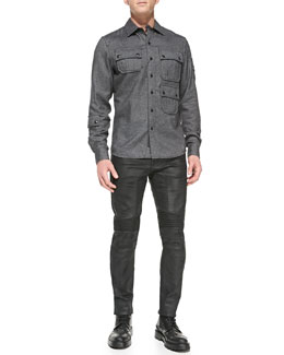 Belstaff Malvern 3-Pocket Flannel Shirt & Eastham Resin-Coated Skinny Jeans