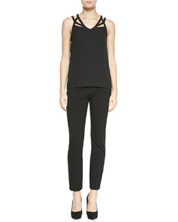 Diane von Furstenberg Jessie Silk Cutout-Straps Tank Top & Harmony Stretch-Knit Leggings