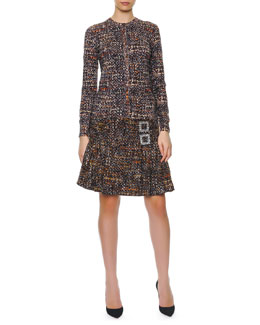 Dolce & Gabbana Button-Down Printed Tweed Cardigan, Sleeveless Printed Tweed Sweater & Double Crystal Buckle Tweed A-Line Skirt