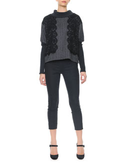 Dolce & Gabbana Black Lace Applique Ribbed Knit Sweater & Side Zip Crepe Pants