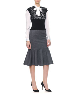 Dolce & Gabbana Cap-Sleeve Macramé Panel Knit Top/Long-Sleeve Silk Tie-Neck Blouse & Stretch Wool Long Flounce Skirt