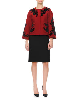 Dolce & Gabbana Bracelet-Sleeve Velvet Appliqué Jacket & 1/2-Sleeve Square-Neck Dress