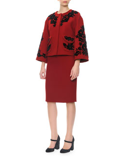 Dolce & Gabbana Bracelet-Sleeve Velvet Appliqué Jacket & Short-Sleeve Scoop-Neck Sheath Dress