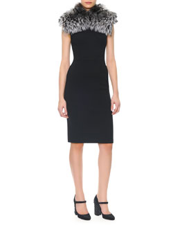 Dolce & Gabbana Sleeveless Wool Crepe Sheath Dress & Silver Fox Collar