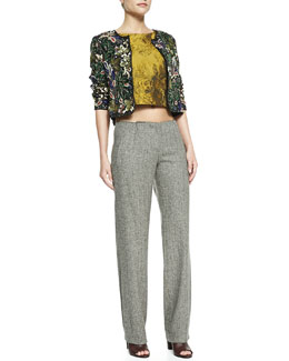 Alice + Olivia Kidman Embellished Box Jacket, Cierra Jacquard Diagonal-Seam Top & Hart Loose No-Waistband Pants