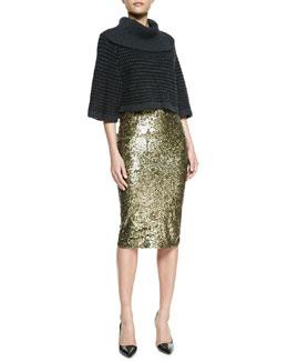Alice + Olivia Basket-Weave Raglan Turtleneck & Bryce Sequined Pencil Skirt