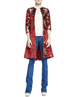 Alice + Olivia Duchess Velvet-Jacquard Mid-Length Coat, Brett Sleeveless Victorian Trumpet-Neck Blouse & High-Waist Boot-Cut Jeans