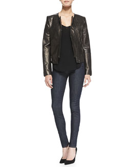 J Brand Jeans Crocodile-Embossed Metallic Leather Jacket, Nadja V-Neck Shirttail Cami Tank & Jess High-Rise Skinny Jeans