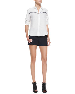 Rag & Bone Swan Striped Voile Blouse & Tatiana Leather-Trim Shorts